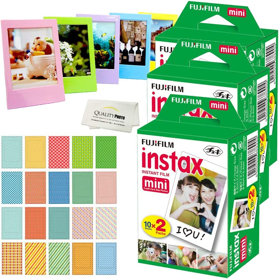 Fujifilm Instax Mini Instant Film, (6 Pack = 60 Sheets) for Fujifilm Mini 9 or Mini 8 Camera + 5 Colored Frames + 20 Assorted Colorful Sticker Frames + Microfiber Cloth by Quality Photo…