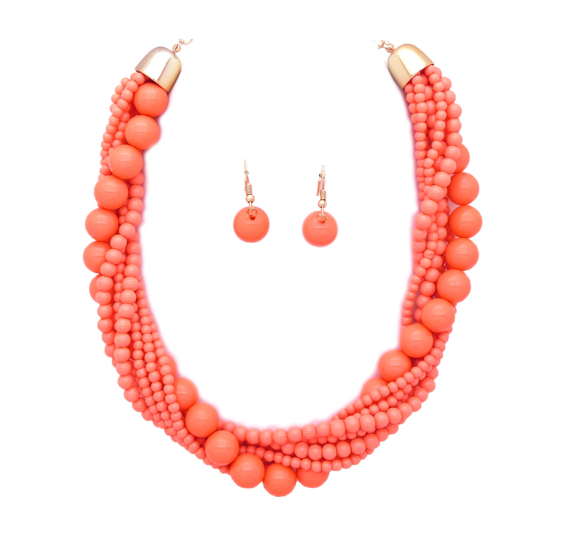 Fashion 21 Women's Twisted Multi-Strand Simulated Pearl, Acrylic Ball Statement Necklace and Earrings Set (Coral - Acrylic Ball)