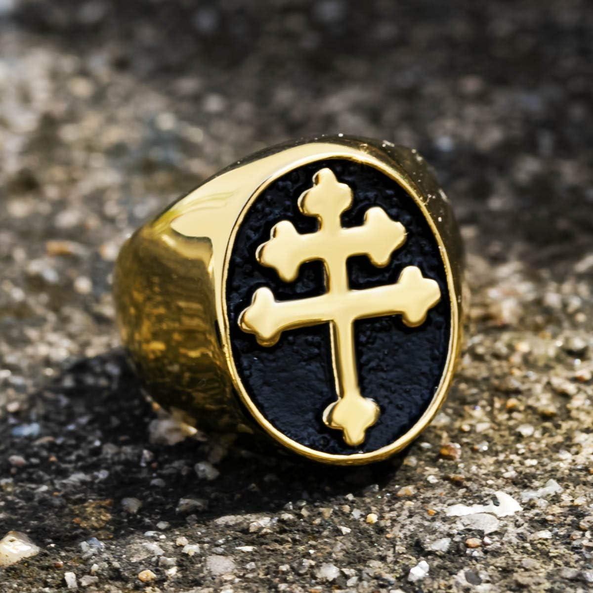 Valily Uomo Anello Croce di Lorena Acciaio Inossidabile Anello con Sigillo Taglia da 14 a 30
