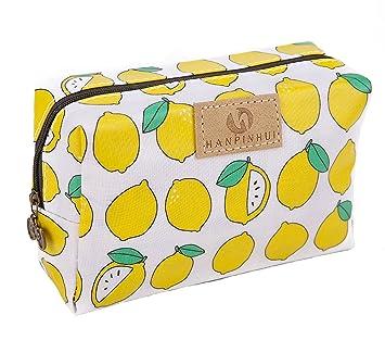 dacf8b3f429e Cute Travel Makeup Pouch Cartoon Printed Toiletry Cosmetic Bag for Girls,  Women (Lemon)