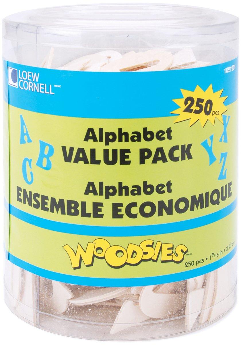 Simply Art Wood Alphabet Value Pack 250 ct. (1021201) Loew Cornell