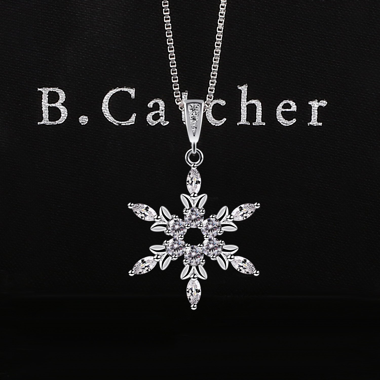 B.Catcher Sterling Silver Snowflake Necklace Crystal Cubic Zirconia Pendant Necklaces bFNmQotcl