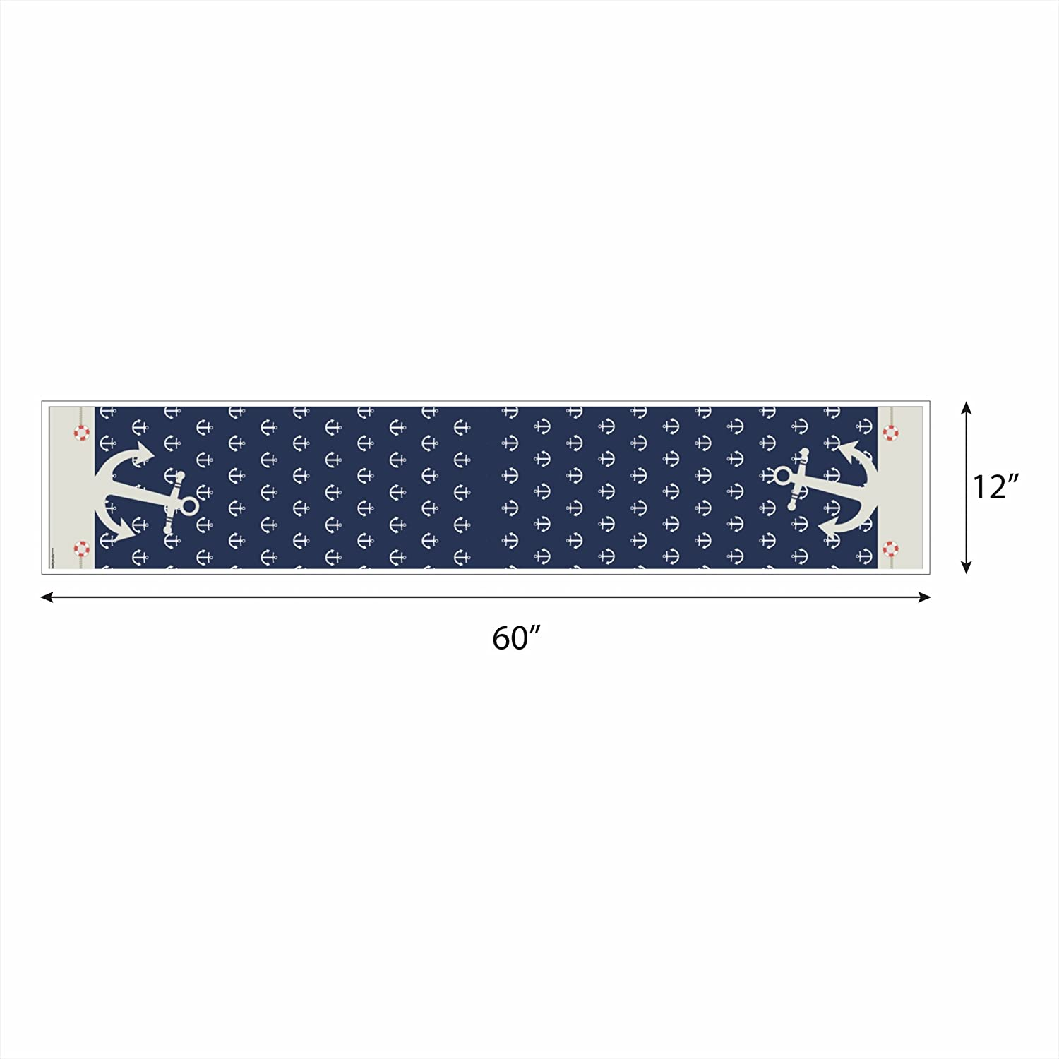 12 x 60 Big Dot of Happiness Ahoy Nautical Petite Baby Shower or Birthday Party Paper Table Runner