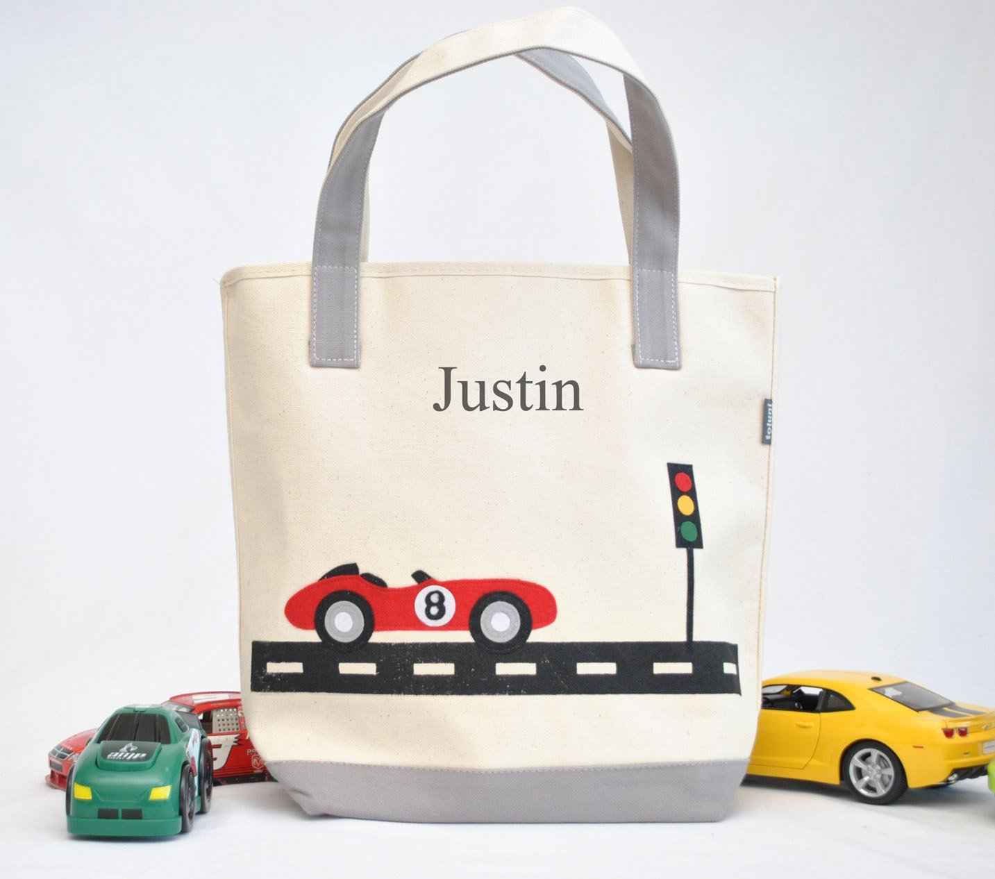Race car Tote| Personalized Library bag| toddler tote | Boys Preschool tote