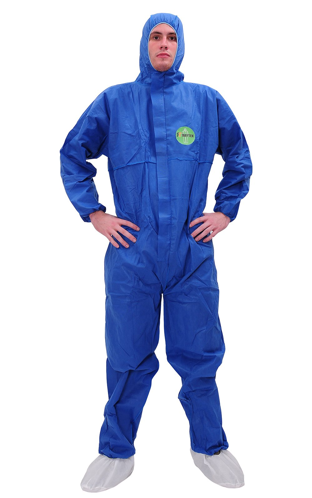 Raytex 30303 SMS Disposable Coveralls Chemical Protective Suit Elastic at Cuffs, Ankles, Hood and Waist Zip Front Serged Seams for Spray Paint Mechanic Work(Pack of 25) (X-Large, Blue)