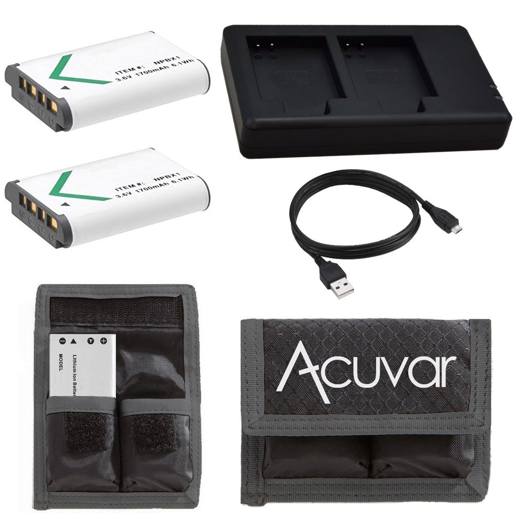(2) NP-BX1 Batteries , Dual Battery USB Charger & Acuvar Velcro Dual Battery Pouch for Sony DSLR Cameras
