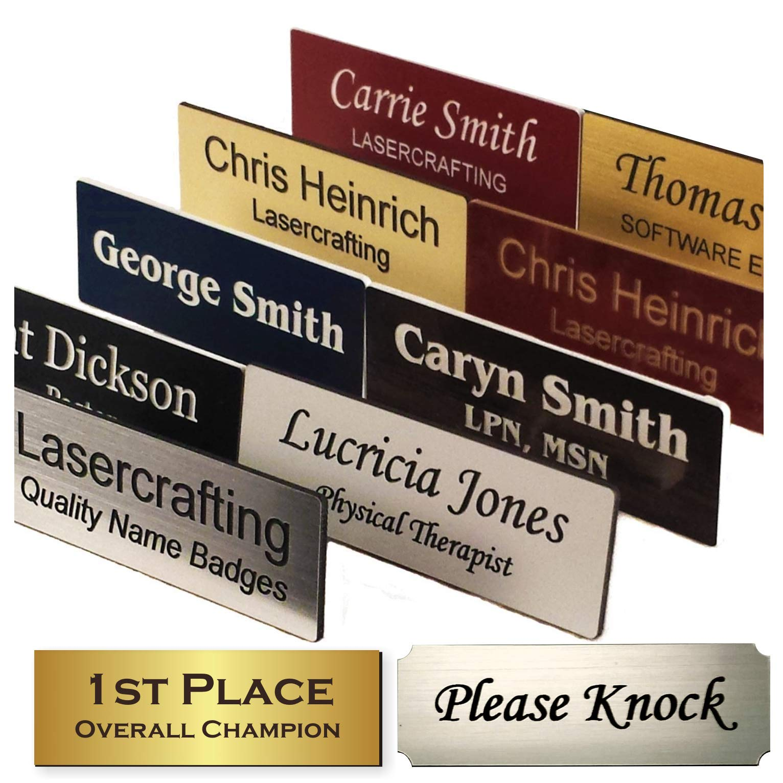 Name Badge tag or Trophy/Picture Label, Engraved -Magnet, pin, Tape or Screws - Size Options