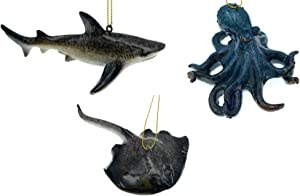 Globe Imports - Nautical Sealife Christmas Ornaments Bundle - 1 Octopus 1 Shark and 1 Stingray Hanging Ornaments