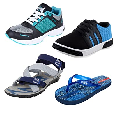 4c3a96f25 Bersache Men Combo Pack of 4 Sports with Casual Shoes,Sandal & Flip-Flops