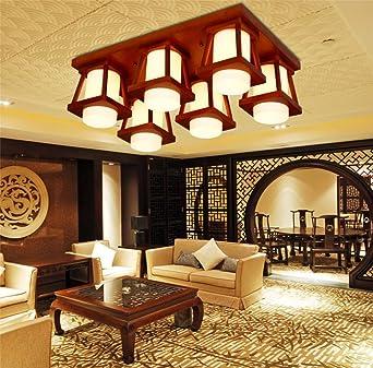 Attraktiv Moderne Neue Chinesische LED Rechteckige Wohnzimmer Lampe Schlafzimmer  Rustikale Holz Decke Halle Woody