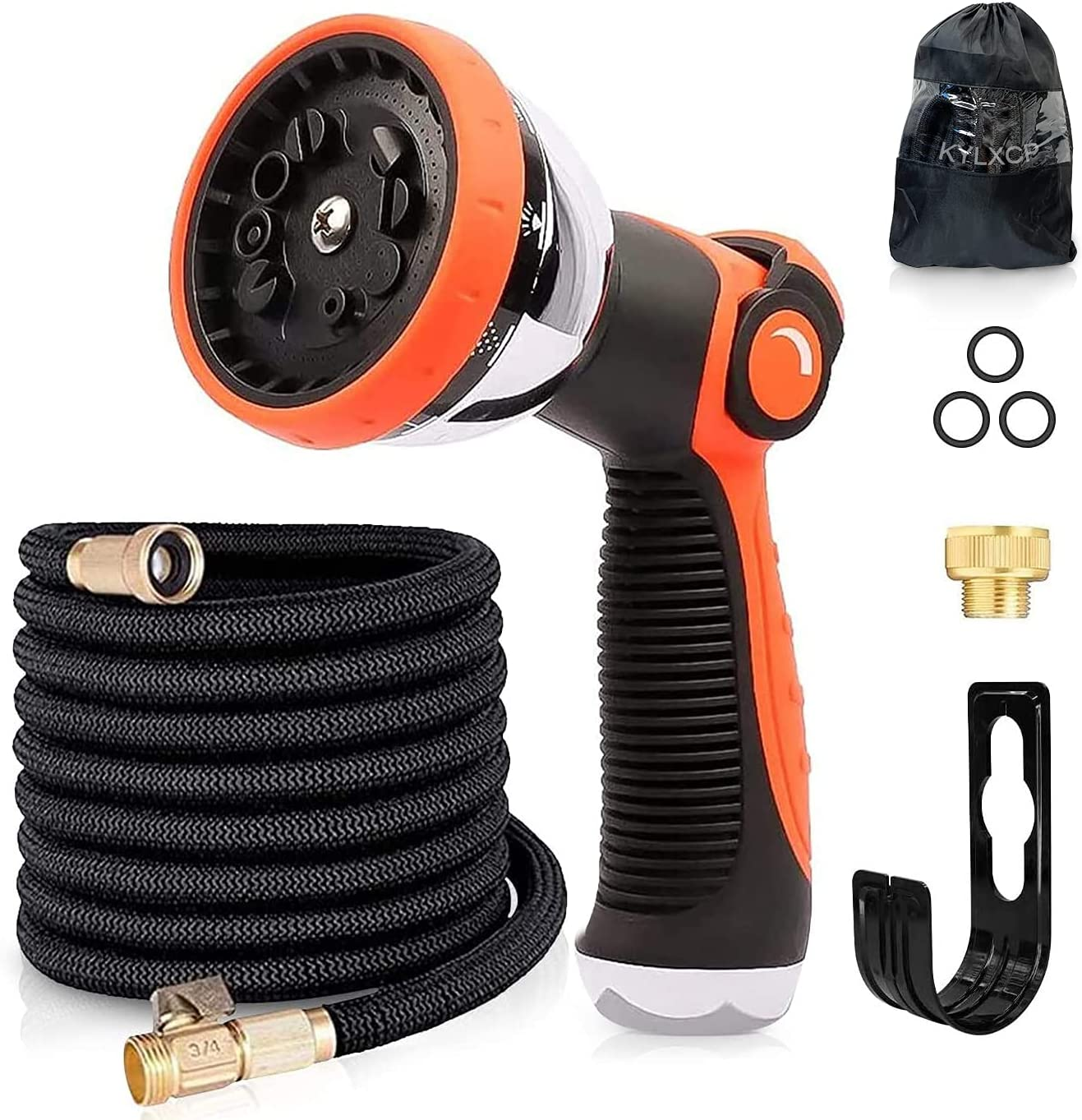 KYLXCP Expandable Garden Hose Superior Strength 13 Layer Flexible Latex, 3/4 Inch Solid Brass Fittings, Extra Strength Fabric 3 Times Expanding Hose, Water Spray Nozzle in 10 Working Modes.