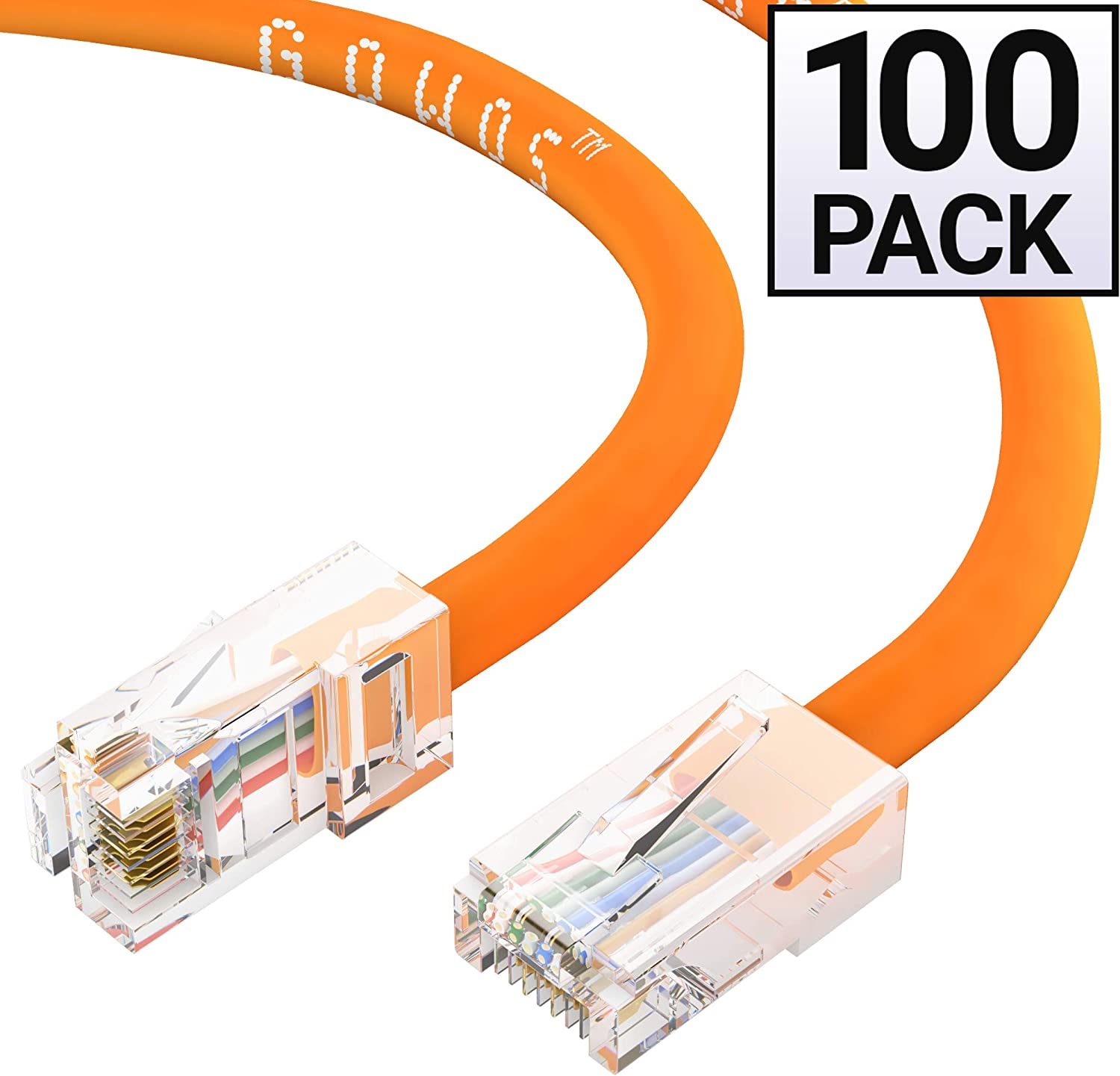 GOWOS Cat5e Ethernet Cable 350MHz 24AWG Network Cable with Gold Plated RJ45 Non-Booted Connector 1Gigabit//Sec High Speed LAN Internet//Patch Cable 40 Feet - Orange