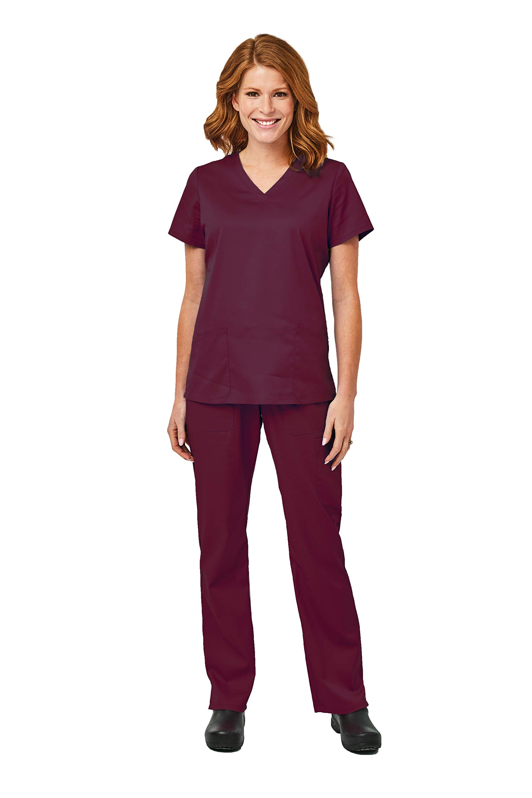 Elements by Alexander's Uniforms EL9925 Women's Four Way Stretch Scrub Set (Wine, 2X-Large)