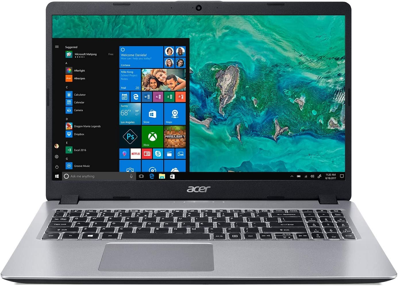 "Acer Aspire 5, 15.6"" Full HD, 8th Gen Intel Core i5-8265U, 8GB DDR4, 256GB SSD, Backlit Keyboard, Windows 10 Home, A515-52-526C"