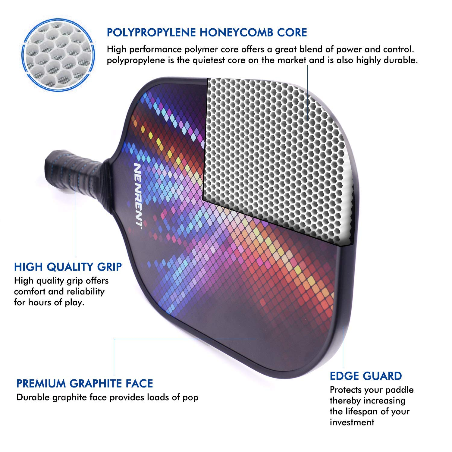 ... Composite Core Paddle Set Lightweight Carbon Fiber Pickleballs Racquet Edge Guard Ultra Cushion Grip Paddle with Cover 7.8-8 OZ : Sports & Outdoors