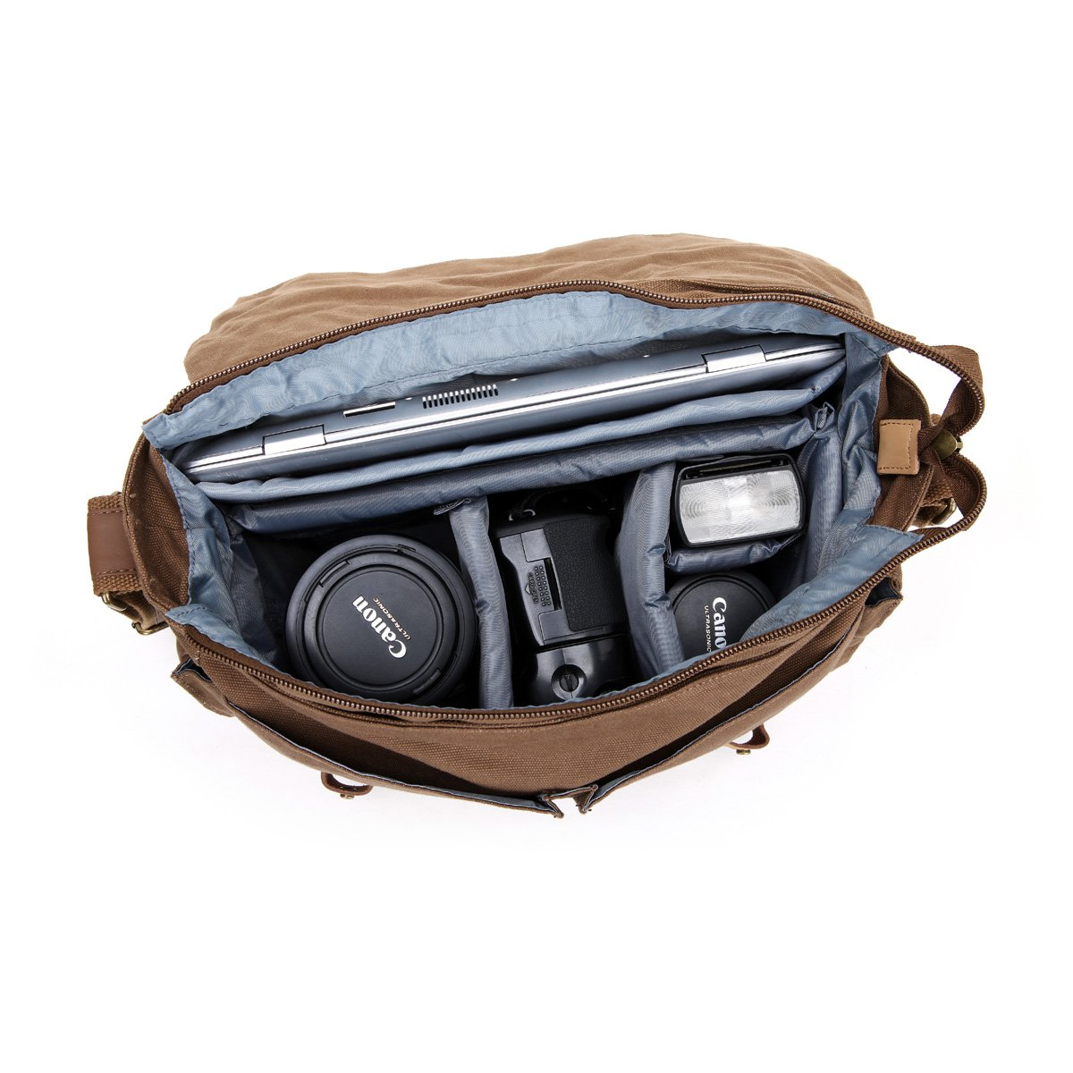 DSLR Slr Camera Bag, MOACC BrownDigital Video Recorder Ptotography Canvas Sling Backpack Protective Rucksack Waterproof Shoulder Messenger with Shockproof Insert for Sony Canon Nikon Olympus Pentax