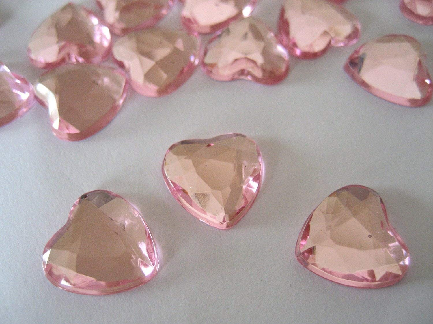 Gold 100 Wedding Party Table Confetti Crystals Gems 10mm Heart shaped With a Silver Plate Flat Back