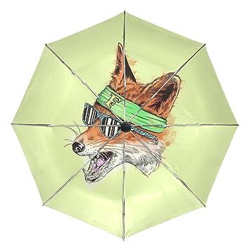 BENNIGIRY Paraguas Fox Art UV - Sombrilla Ligera y antirayos UV, Elegante Reverso de 3