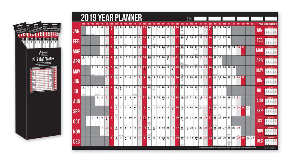 2019 Year Wall Planner Holiday Planner Including Pen and Stickers Office Or Home Anker