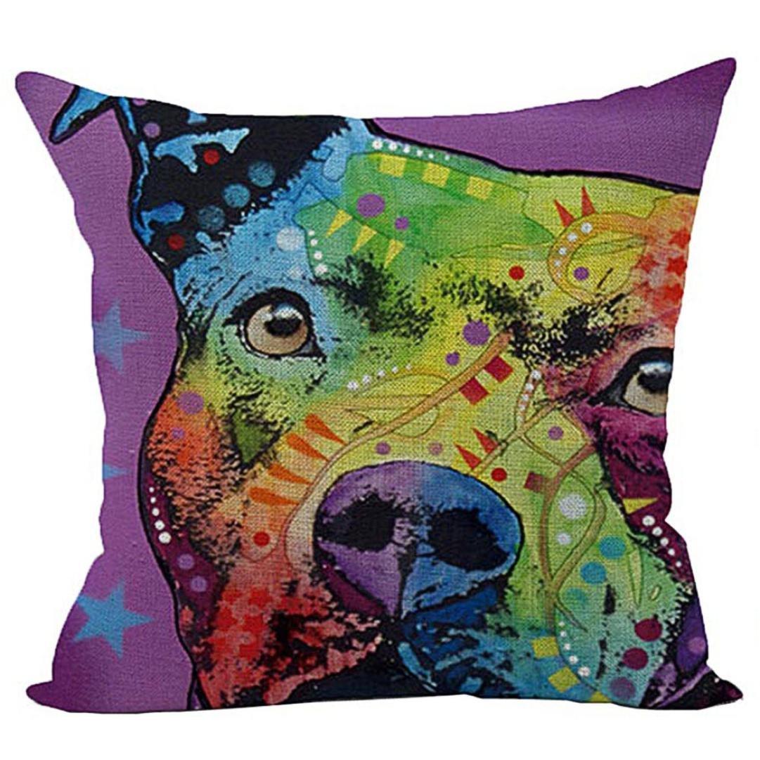 Ronamick Kissenbezug Kissenhü lle Taille 45 x 45 cm Netter Hund Sofa Bett Home Decor Auto (A)