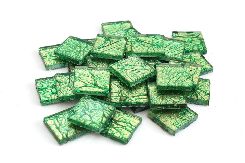 Milltown Merchants 3/4 Inch (20mm) Green Foil Mosaic Tile, 3 Pound (48 oz) Bulk Assortment of Mosaic Tiles