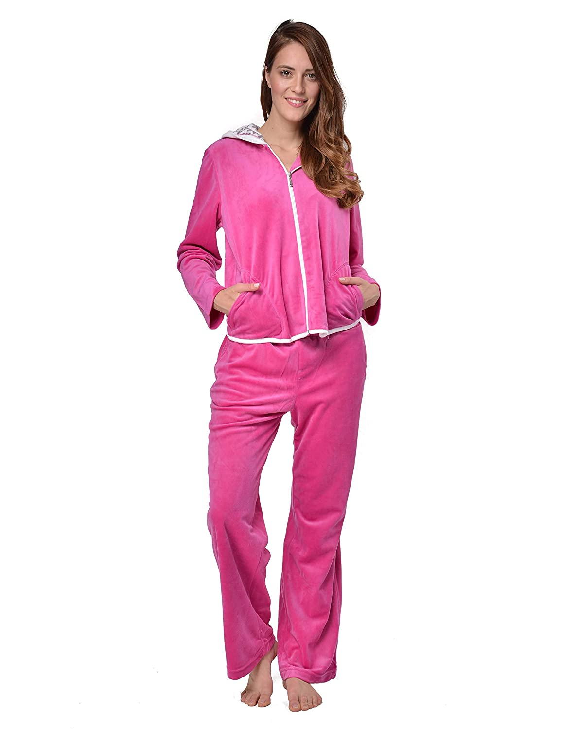 RAIKOU Nicki Women s Velour Leisure Suit Tracksuit Jogging Suit with Zip  and Hood with Leopard Print (Berry 46a0b00a93