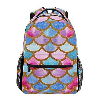 Mochila para ordenador portátil, diseño de sirena, color rosa, azul y morado,