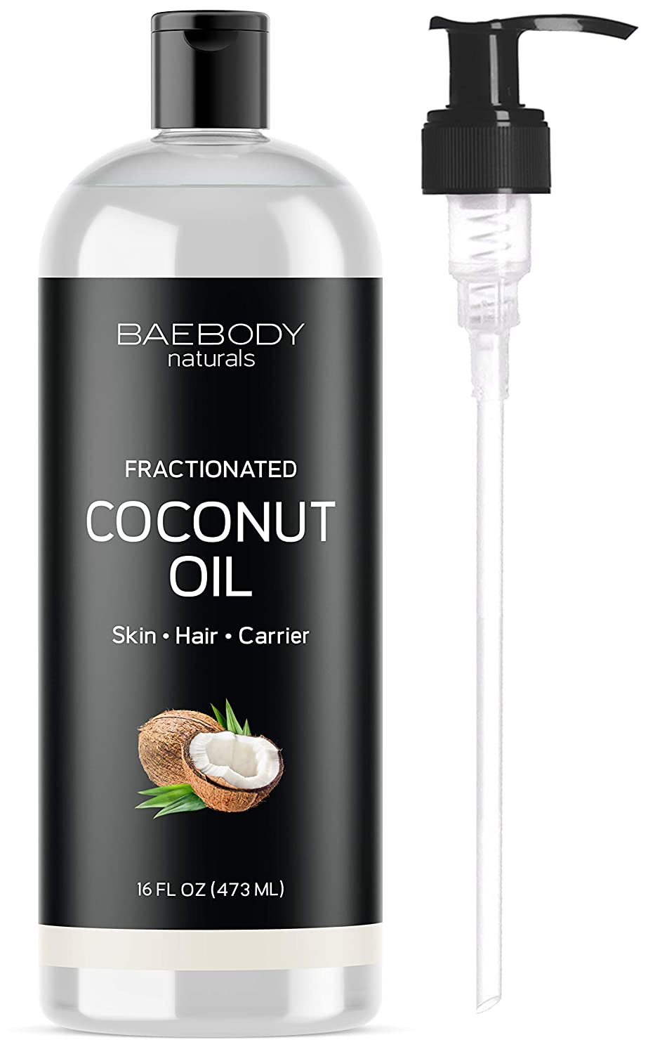 Fractionated Coconut Oil from Baebody Naturals- Moisturizing and Softening Carrier Oil for Face, Skin, Hair, Nails. Premium Carrier Oil for Daily Hydration and Shine. Value Size - Large 16 OZ Baetea