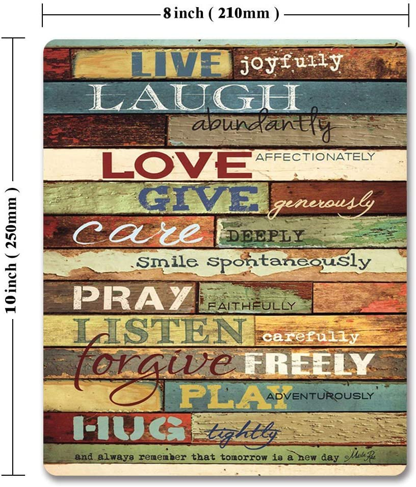 Live Joyfully Laugh Abundantly Inspirational Quotes Wood Wall Art Print Unique Design Decorative Gaming Mouse Pad