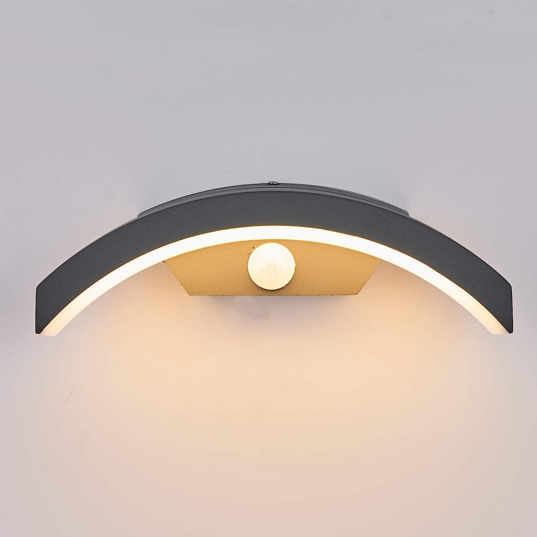 Topmo-plus 24W LED Focos pared Exterior/Osram SMD/apliques pared IP65 jardín, Garaje, Patio, Camino, Eacaleras, Pasillo, Terraza, Camino de Entrada 27CM gris/blanco cálido (Sensor de Movimiento)
