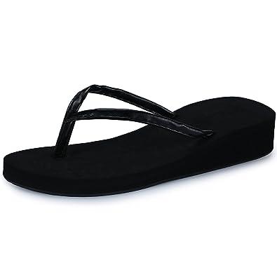65fe88e8e90646 IDIFU Women s Holi-Mid Beach Wedge Heels Thong Flip Flop Sandals Black 4 B(