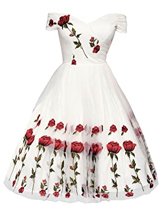 87ec0bf47309 SMIELA Women's Off Shoulder 1950s Rose Embroidery Floral Lace Party  Cocktail Wedding Swing Dress at Amazon Women's Clothing store: