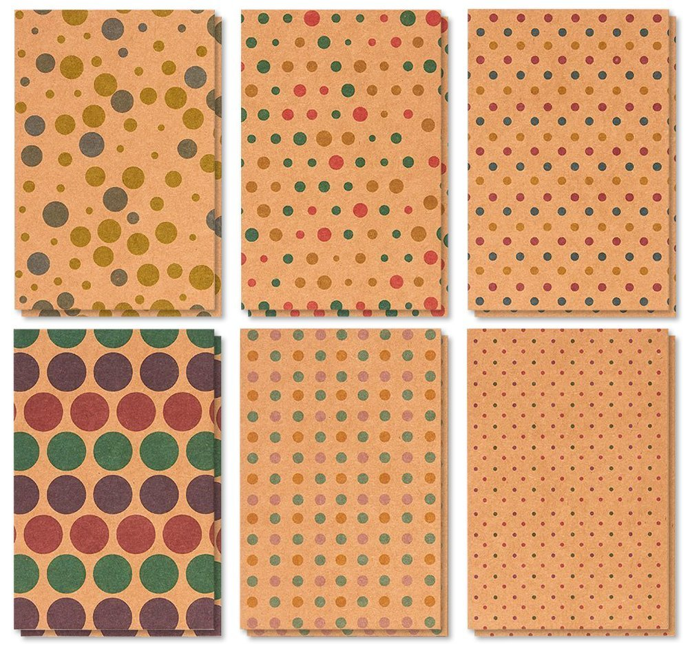 36 Pack Assorted All Occasion Greeting Cards Blank Kraft Polka Dot