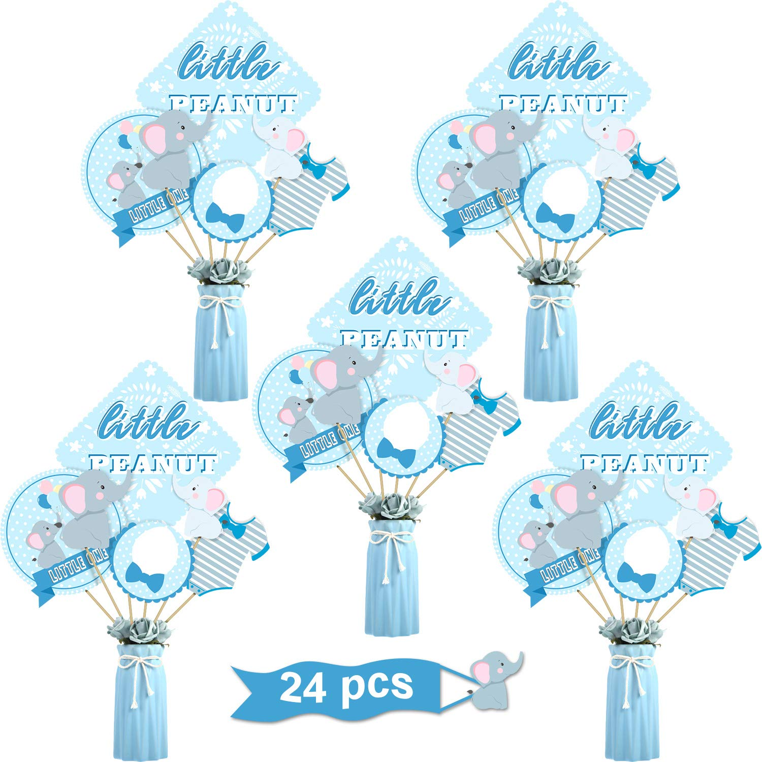 Blue Elephant Boy Baby Shower Birthday Party Decoration Blue Elephant Centerpiece Sticks Table Toppers for Boy Birthday Party Supplies, Double Side Printed, 24 Pack