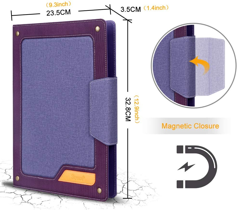 Padfolio Portfolio Case Business Card Holders Interview//Conference//Legal Document Organizer with Letter//A4 Size Clipboard Skycase Business Portfolio Folder Document Sleeve Purple