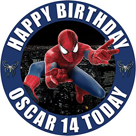 Superhero Spiderman Cake Topper 7.5 Inch Personalised Edible on Icing Sheet with HI RES Image