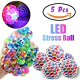 Qiwoo 5 Pack Mesh Squishy Ball LED Squeeze Grape Ball Multi-Color Glowing Flashing Anti-Stress Relief Relieve Pressure Ball Fidget Toys Non-Toxic Rubber Sensory Balls for Women Men Kids Sports Outdoor