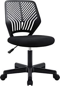 BOSSIN Kids Desk Office Chair for Teens Computer Mesh Chair with Low-Back Armless Adjustable Swivel Ergonomic Home Office Student Chair Black White(Black-FBA)