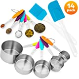 Stainless Steel Measuring Cups and Spoons Set + FREE Silicone Spatula and Cooking Brush by DYkitchen