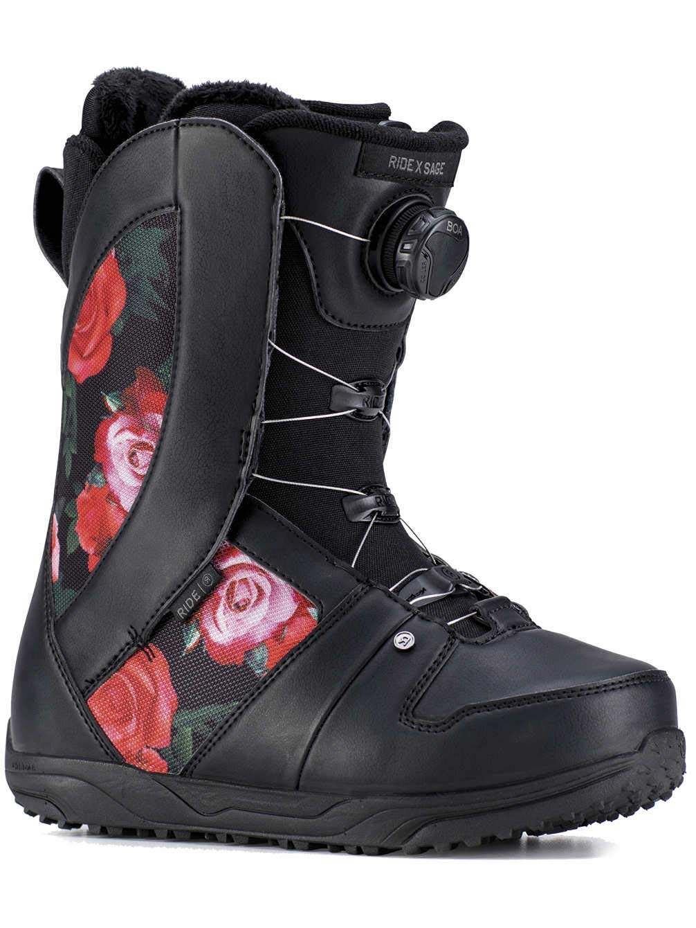 Ride Sage Boa Coiler Womens Snowboard Boots 2019-8.5/Black Rose by Ride