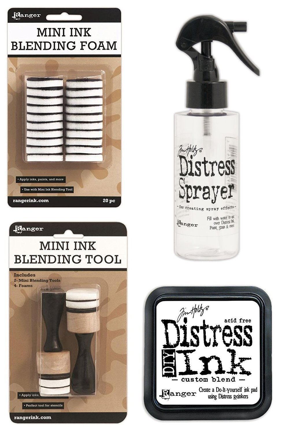 Tim Holtz Distress Bundle of 4 Items - Sprayer, DIY Ink Pad, Blending Tools, and Blending Foams Ranger Tim Holtz 4336989839