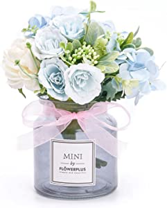 Artificial Flowers Fake Flowers Artificial for Decoration Table Decor Silk Flowers Tabletop Faux Flowers in Vase Hydrangea Peony Roses Flowers with Vase Home Decor Indoor Centerpiece Blue