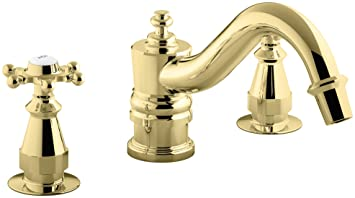 Kohler K T125 3 Pb Antique Deck Mount High Flow Bath Faucet Trim