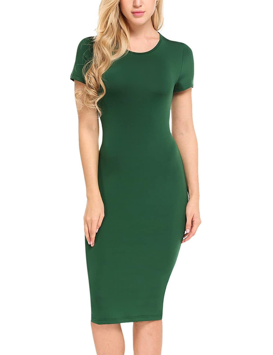 3582a22bbc44 Hotouch Women's Basic Bodycon Solid Slim Fit Short Sleeve O-Neck Midi Dress  at Amazon Women's Clothing store: