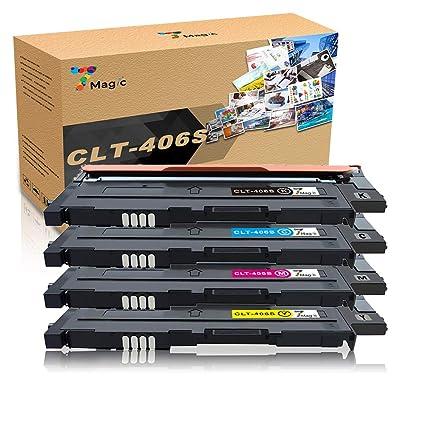 CLT-406, 7Magic Tóner Compatible con Samsung CLT-P406C CLT-406S Cartucho de Tóner, Compatible con Samsung CLP-360 CLP-365 CLX-3305 CLX-3300 SL-C460W ...