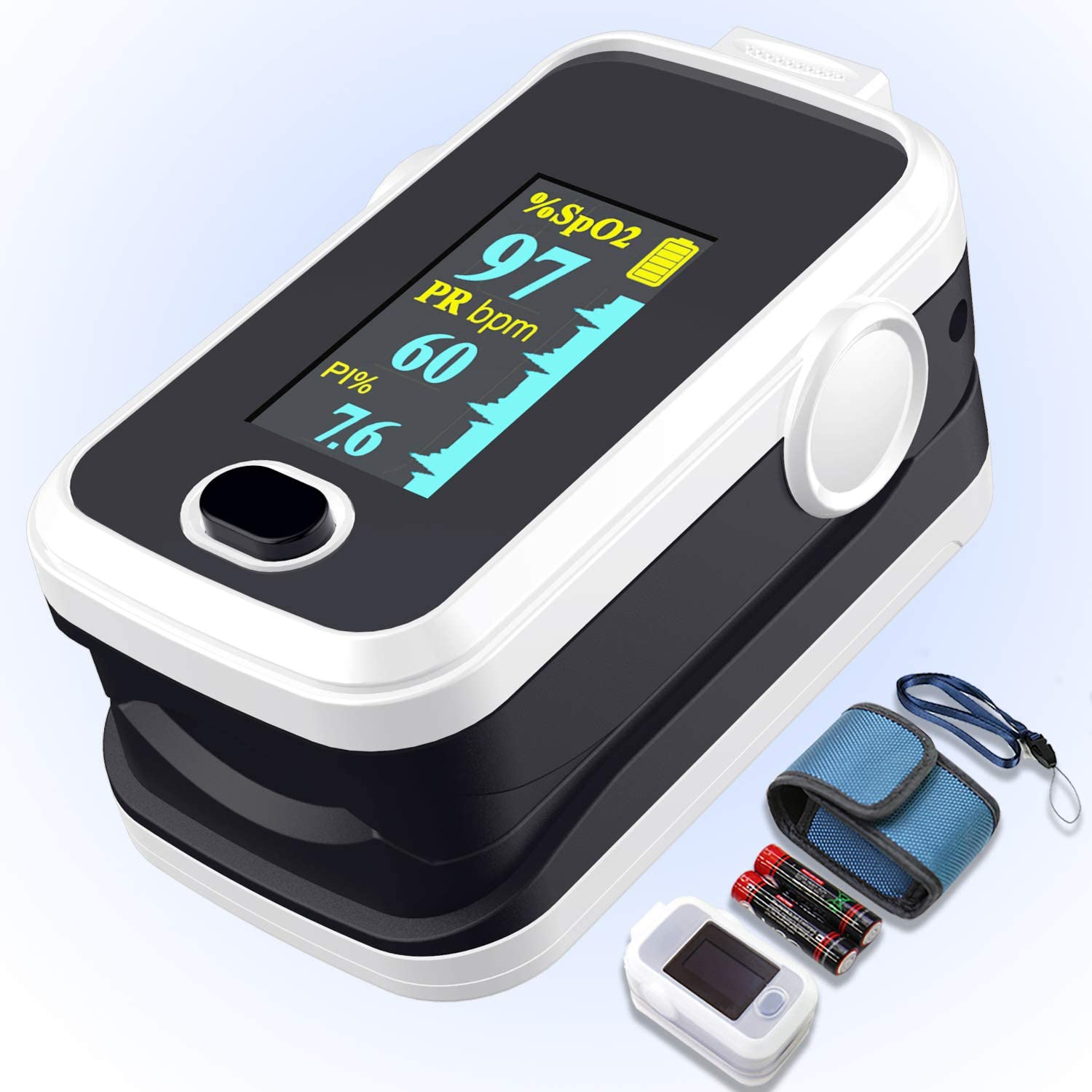 Pulse oximeter fingertip with Plethysmograph and Perfusion Index, Portable Blood Oxygen Saturation Monitor for Heart Rate and SpO2 Level, O2 Monitor Finger for Oxygen,Pulse Ox,Oximetro, (Black-White)