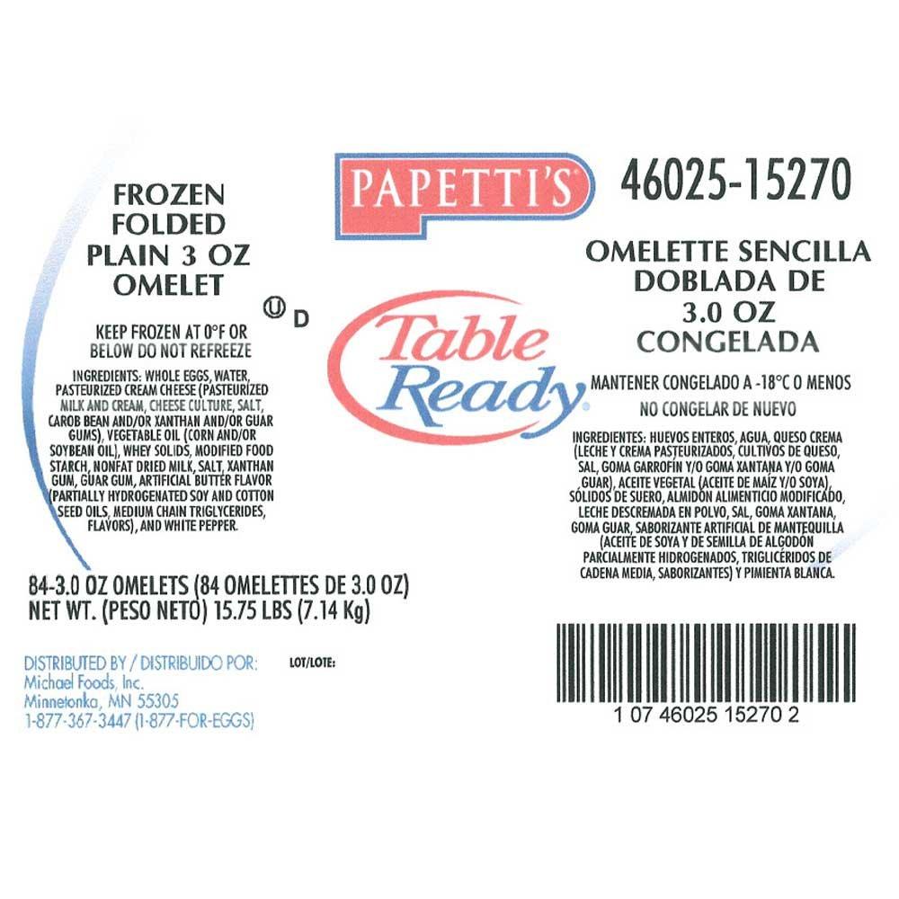 Michael Foods Papettis Plain Omelette, 3 Ounce - 84 per case. by Michael Foods