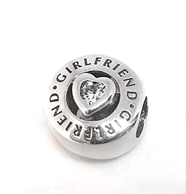 10b81e87dca68 Amazon.com: PANDORA. Charm Bead 792145CZ Girlfriend heart stone ...