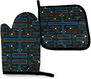 Pacman Retro Video Game Pattern Oven Mitts and Potholder Set -Heat Resistant Oven Gloves to Protect Hands with Non-Slip Grip Hanging Loop for Baking Kitchen Grilling