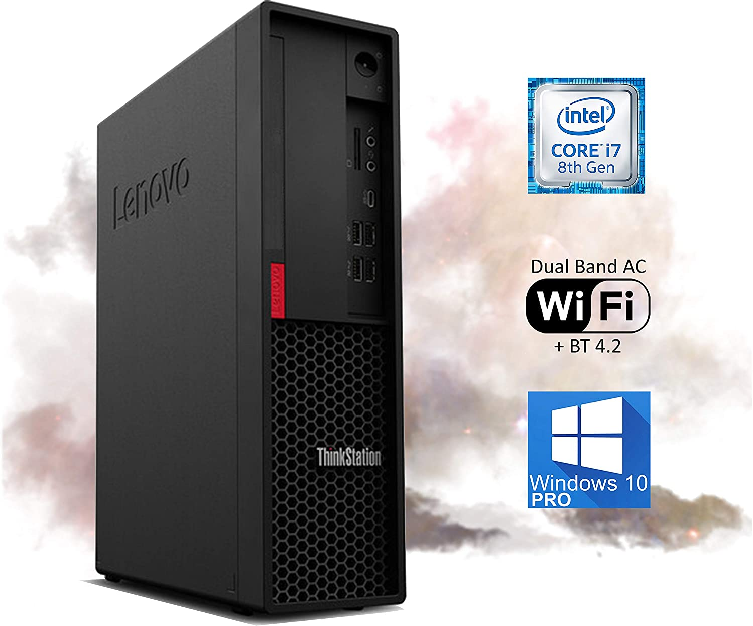 Lenovo ThinkStation P330 Desktop PC, Intel i7-8700 Upto 4.6 GHz, 16GB RAM 1TB NVMe SSD, 4K UHD Graphics 630, DisplayPort, HDMI, AC Wi-Fi, Bluetooth, USB Type-C – Windows 10 Pro (RENEWED)
